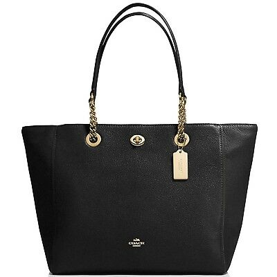 350 New Coach Pebbled Leather Turnlock Chain Tote Large 56830 Black Gold