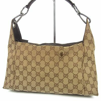 Sale! GUCCI Logos GG Canvas Leather Hand Bag Italy F/S 8843b