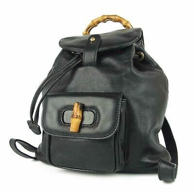 Auth GUCCI Vintage Bamboo Leather Drawstring Mini Backpack Bag Italy 11842bkac