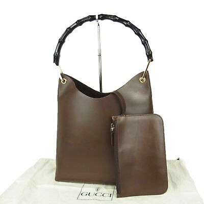 Auth GUCCI Vintage Bamboo Leather Shoulder Hand Bag w/Pouch w/Dustbag 13582bkac