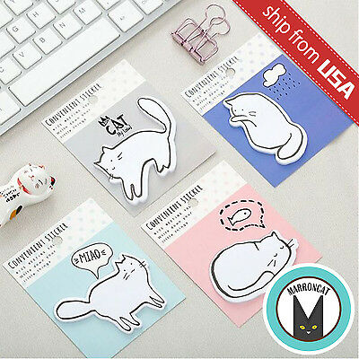 Lot 4pcs Kawaii Cute Cat Kitten Memo Pad Stationery Sticky Notes Index Tab Set