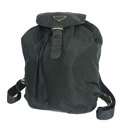 Auth PRADA Vintage Logos Tessuto Nylon Drawstring Backpack Bag Italy F/S 12328b