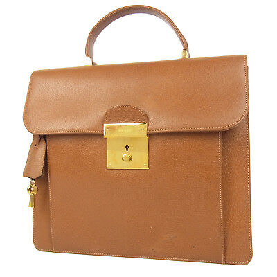 Auth GUCCI Logos Leather Hand Bag Brown F/S 206