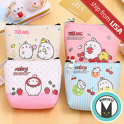 Rabbit Bag - Molang Rabbit Faux Leather Coin Case Purse pouch zipper bag Kawaii Cute Cartoon