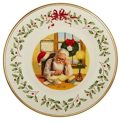 Lenox 2016 Annual Holiday Collectors Plate Santa Checking List New In Box