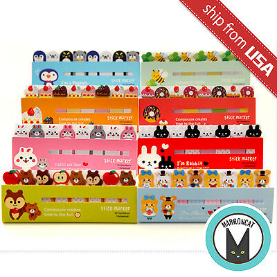 Lot 8pcs Kawaii Cute Animal Index Tab Sticky Notes Flag Cartoon Memo Bookmark