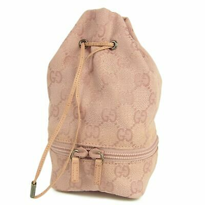 Auth GUCCI GG Logos Canvas Leather Drawstring Pouch Mini Bag Italy F/S 11759bkac