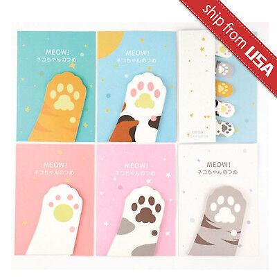 Lot 6 Cute Kawaii Maneki Neko Cat Paw Memo Pad Stationery Sticky Notes Bookmark