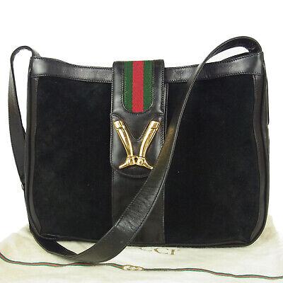 Auth GUCCI Vintage WEB Leather Metal Long Boots Clasp Shoulder Bag 16868bkac