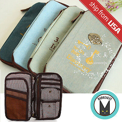 Korean Denim Novelty Travel Passport Bag Card Ticket Holder Case Organizer Cute (Novelty Passport)