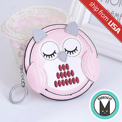 Sleeping Owl Faux Leather Round Coin Case Purse Wallet zipper bag Kawaii Cute - Embroidered Sleeping Bags