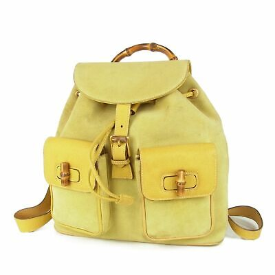 Auth GUCCI Vintage Bamboo Leather Drawstring Backpack Bag Italy 11450bkac
