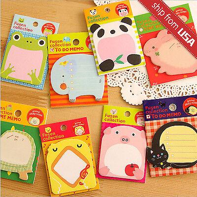 Lot 8 Assorted Kawaii Cute Animal Memo Pads Cat Stationery Cartoon Sticky Notes