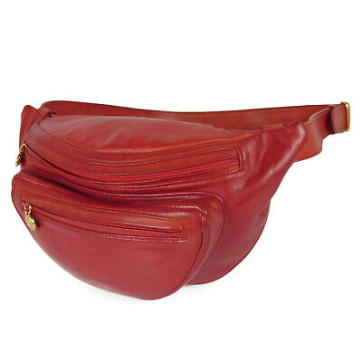 Auth GUCCI Vintage Logos Leather Waist Pouch Fanny Pack Bum Bag Italy 16823bkac