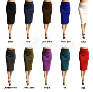 WOMEN-SOLID-SEXY-ELEGANT-STRAIGHT-PENCIL-SKIRT-MADE-IN-USA-MORE-COLORS