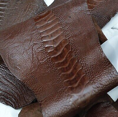 Ostrich Legs Skin Leather Mahogany Color G.A (%100 Genuine Ostrich Leather) Ostrich Leg Skins