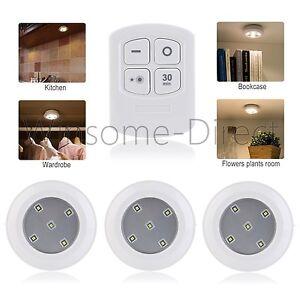 3 x Wireless Remote Control LED White SMD Lights Lamp Stick-on Closet Wardrobe