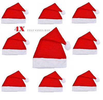 Set Of 4 Red Felt Santa Hats Christmas Santa Claus Costume Accessory Bulk lot - Santa Hats Bulk