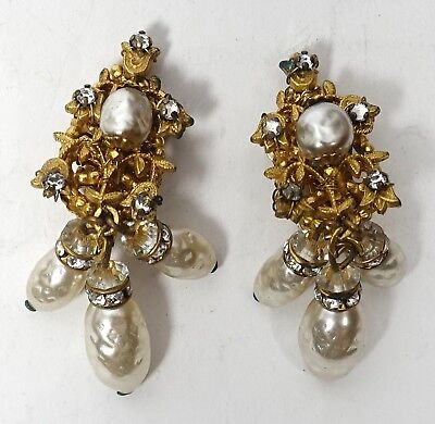 Vintage 1950s MIRIAM HASKELL Faux PEARL CRYSTAL DROP Silver DANGLE CLIP EARRINGS