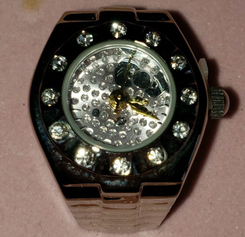 Hello Kitty X Sanrio Vintage Rhinestone Bling Stainless Steel Ring Watch-NEW!