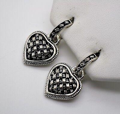 A017 Chic Design Post  Rhodium Plated Heart Shape Dangle Clip fashion Earrings Dangling Heart Post Earrings