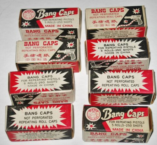 "Vtg Horse Brand""Bang Caps""Repeating Toy Pistol 250 Shots~Advertising Lot 8 Boxes"