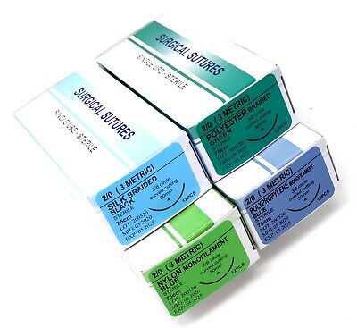 48pack 20 Surgical Sutures Silk Nylon Polyester Polypropylene Braided Sterile