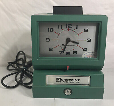 Acroprint Time Clockrecorder 125rr4 Heavy Duty Manual Punch Green No Key Tested