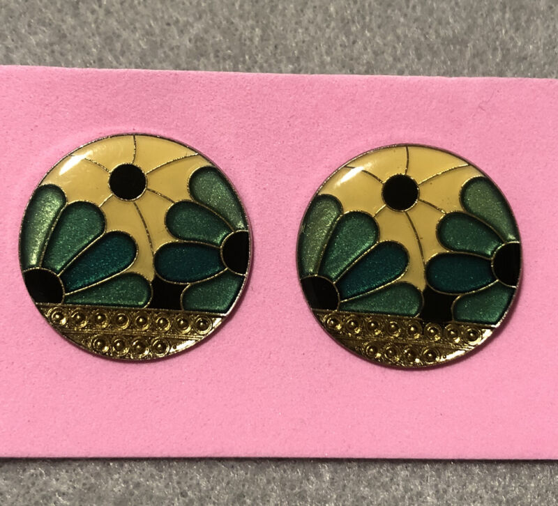 Pierre Bex Vintage Art Deco Style Earrings Enamel Green Flowers Pierced Ears