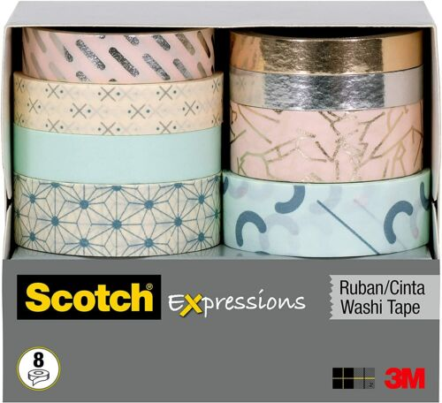 Scotch Expressions Washi Tape 8 Rolls Crafts Decorating Scrapbook 48.1 YD NEW