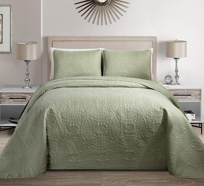 Fancy Linen Embossed Oversized Coverlet Bedspread Set Light