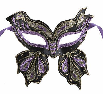 Mask from Venice Colombine Farfella Golden Purple Butterfly in Paper Mache 22509