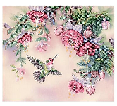 Hummingbird & Fuchsias Stamped Cross Stitch Kit-14X12