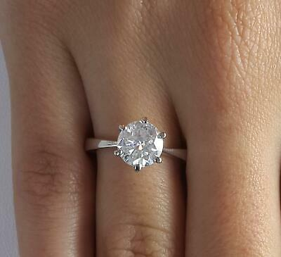 1.75 Ct Classic 6 Prong Round Cut Diamond Engagement Ring SI2 F White Gold 14k 14k White Gold Classic Prong