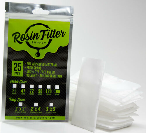 "72 Micron Rosin Press Filter Bags 25-Pack Squish Ready - 2"" x 4"""