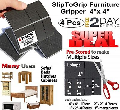 SlipToGrip Furniture Gripper Protective 4 Pads Rubber Grip Non-slip Multi -