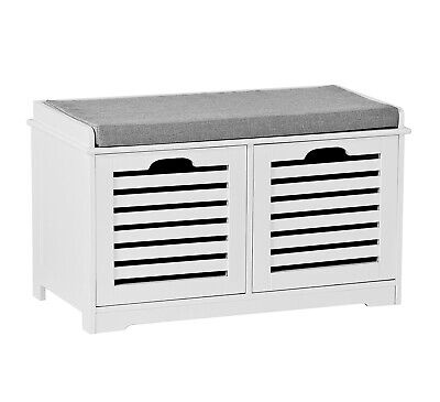 Kendal 2 Seater Wooden Storage Bench with Seat Cushion, White Drawers-OT53WH