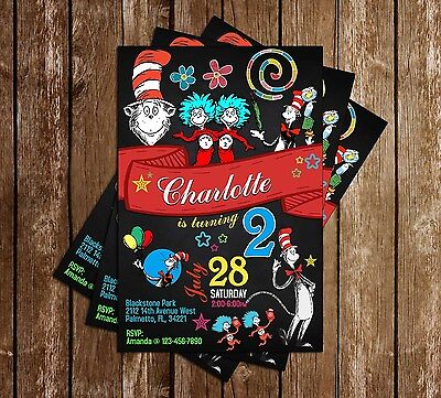 Dr Seuss Cat in the Hat - Banner - Birthday Invitation - 15 Printed W/envelopes (Cat In The Hat Invitations)