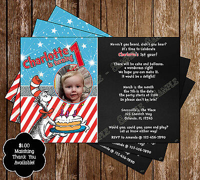 Dr Seuss - Cat in the Hat - Birthday Invitations - 15 Printed W/envelopes (Cat In The Hat Invitations)