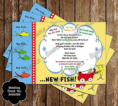 Fishing Baby Shower Invitations (Dr Seuss - One Fish, Two Fish - Baby Shower Invitations - 15 Printed)