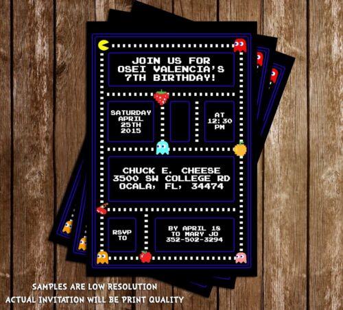 PacMan Birthday Party Invitation - 15 Printed W/envelopes
