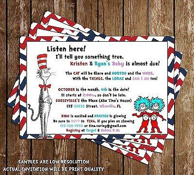 Dr Seuss - Cat in the Hat - Baby Shower Invitations - 15 Printed W/envelopes (Cat In The Hat Invitations)