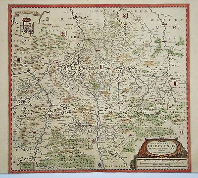 Hildesheim Hameln Seesen Bockenem Elze  Kupferstich Landkarte Janßonius 1640