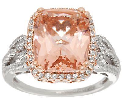 Diamonique Rose - DIAMONIQUE & SIMULATED MORGANITE 14K ROSE-PLATED STERLING SILVER RING SZ 7 QVC