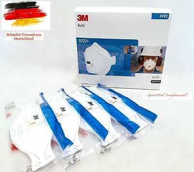 5x Stk Atemschutzmaske 3M Aura 9322+ FFP2 NR D mit Ventil, MHD bis 2025