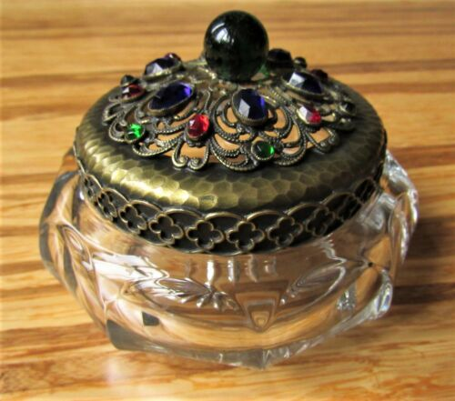 Antique Rare HEISEY Glass Ormolu Filigree Jeweled Dresser Vanity Powder Dish Jar