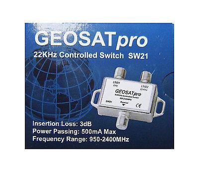 GEOSATpro 22KHz Tone Control Satellite Switch 0/22 KHz 2x1 Switch FTA SW21