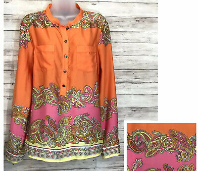 H&M orange pink mix paisley & baroque print Blouse Size 12 Long Sleeves -(E)