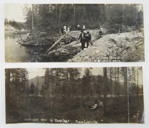 Stilaguamish Gold Mining District WA Deer Creek Panoramic Photos (2) 1910-20
