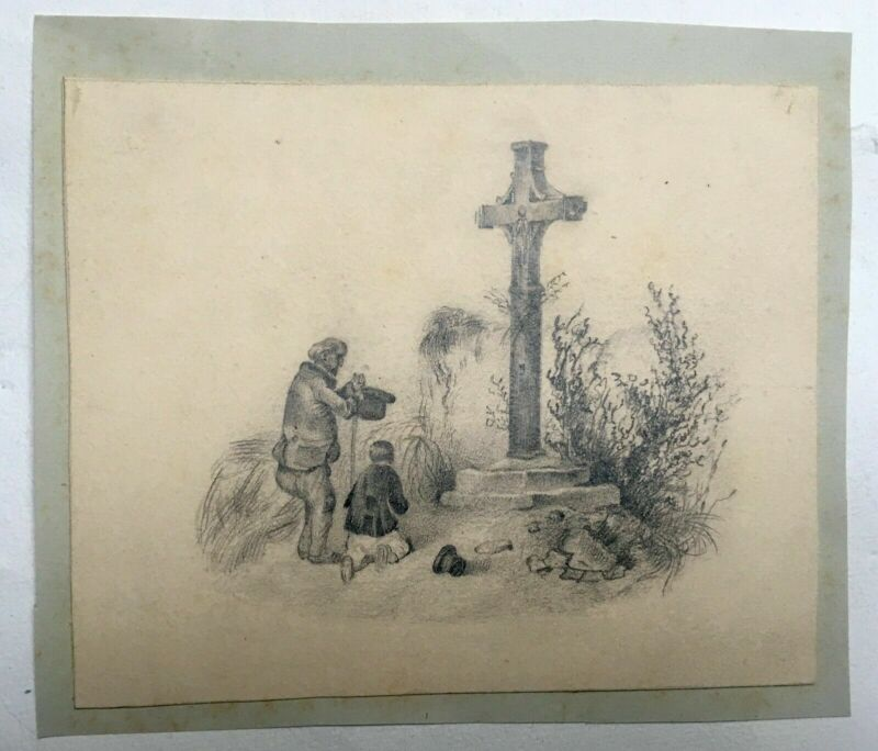 Old pencil drawing, Prayer before the Calvary, 19th century